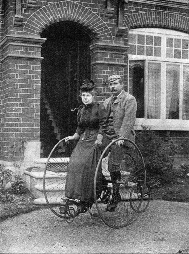 Conan Doyle on a Tandem Penny-Farthing