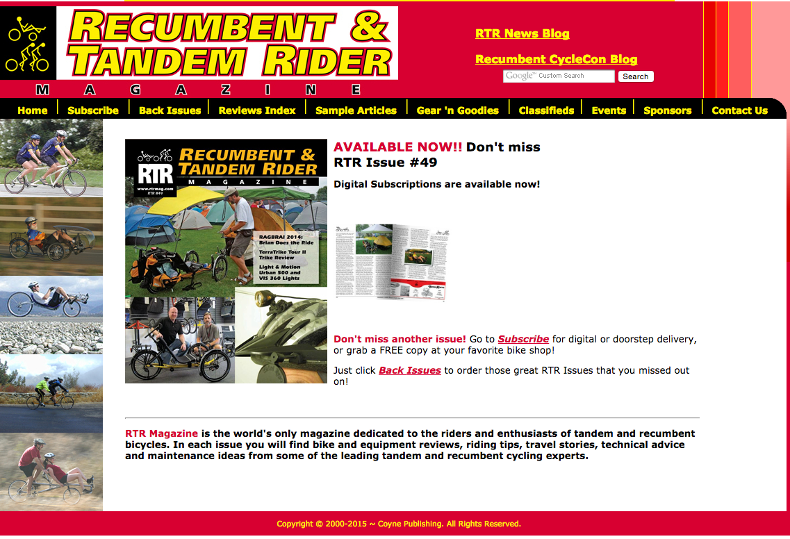 Recumbent & Tandem Rider Magazine subscriptions now available on